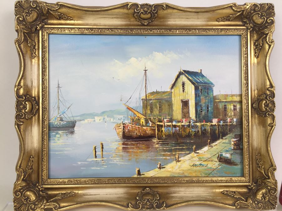 Original Oil Painting Of Ships In The Harbor Signed By Artist [Photo 1]