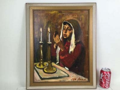 Original Oil Painting On Canvas Of Woman In Prayer Under Candlelight Signed By Artist