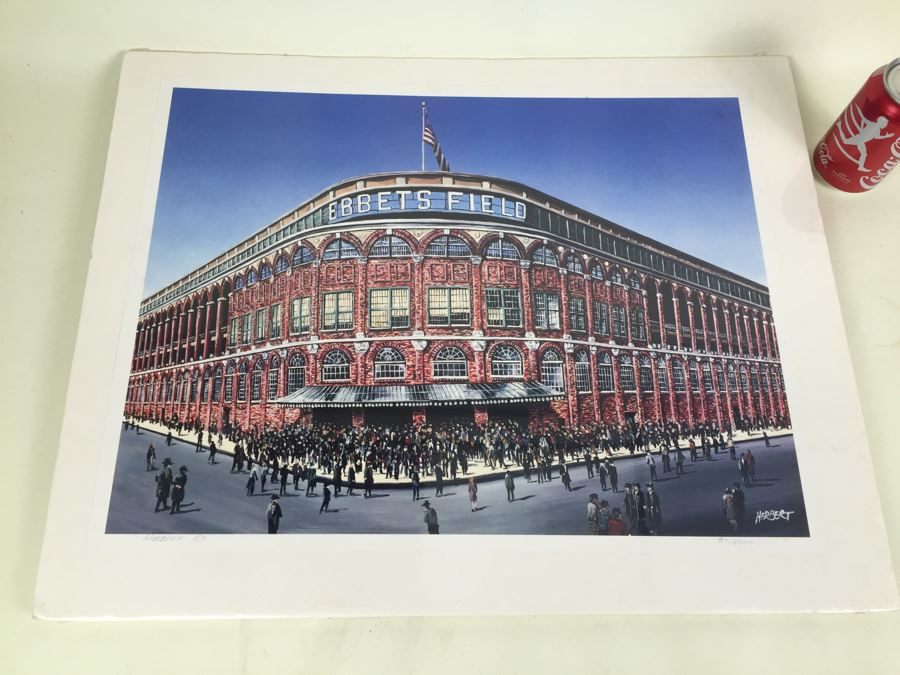 Nostalgia Limited Edition Print Signed By Artist Marv Herbert 97/5000 Showing Crowd Entering Ebbets Field In Brooklyn New York City [Photo 1]