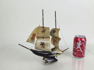 Sailing Ship Model Sculpture Made From Horn