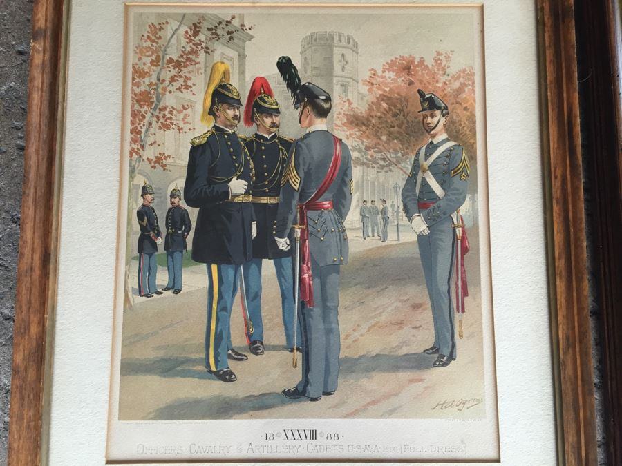 Pair Of Framed West Point Army Military Academy Prints [Photo 1]