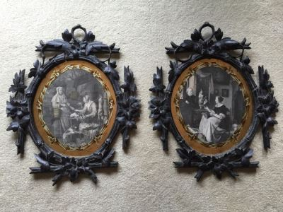 Antique Pair Of Stunning Black Forest Hand Carved Wooden Frames With Reverse Painted Glass Engravings