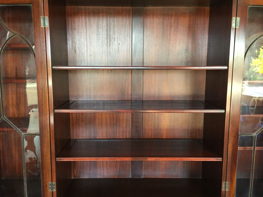 Stately Breakfront Bookcase With Bubble Glass Kaplan