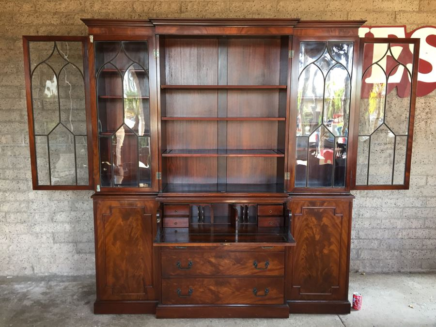 Stately Breakfront Bookcase With Bubble Glass Kaplan Furniture U0027Beacon Hill  Collectionu0027 With Pull Out