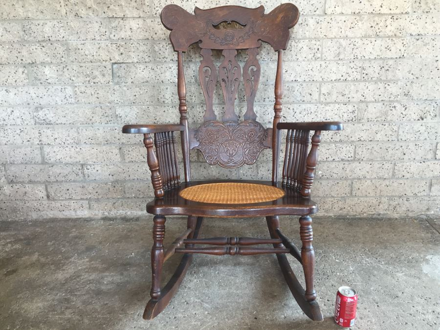 Nice Antique Cane Seat Rocking Chair With Dragon And