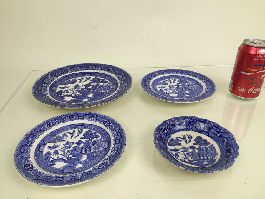 Antique Semi-Vitreous Buffalo Pottery Blue Willow Plate And Bowl Lot Dated 1907 1909 & Antique Semi-Vitreous Buffalo Pottery Blue Willow Plate And Bowl Lot ...