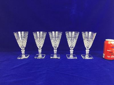 Set Of 5 Art Deco HAWKES (Steuben) Lead Crystal Stemware Glasses Square Base And Notched Stem
