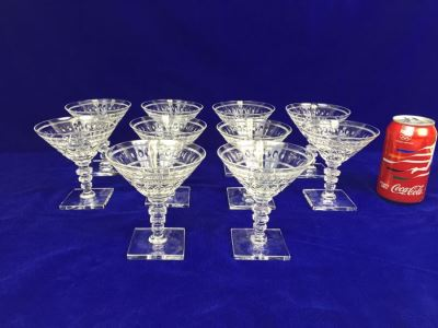 Set Of 10 Art Deco HAWKES (Steuben) Lead Crystal Stemware Glasses Square Base And Notched Stem