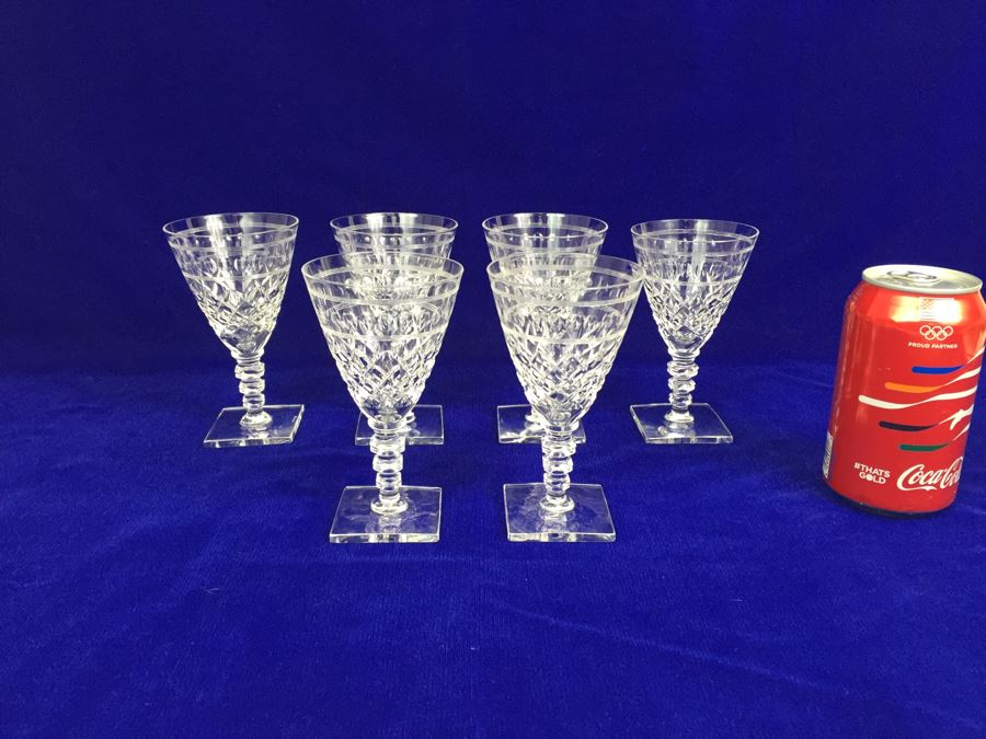 Set Of 6 Art Deco Hawkes Steuben Lead Crystal Stemware
