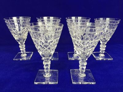 Set Of 6 Art Deco HAWKES (Steuben) Lead Crystal Stemware Glasses Square Base And Notched Stem