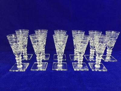 Set Of 11 Art Deco HAWKES (Steuben) Lead Crystal Stemware Glasses Square Base And Notched Stem