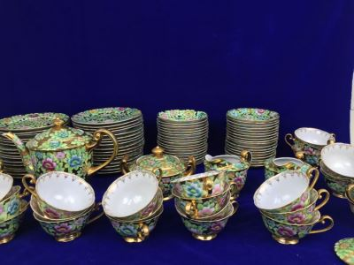 Stunning HUGE Tea Service China Set Highlife JAPAN Hand Painted