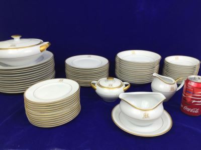 Large China Set Meito China JAPAN Hand Painted White With Gold Rim Monogramed RPM