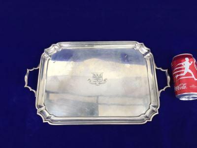 Vintage 1928 Lionel Alfred Crichton London England Silver Platter 1,112g = $615 Melt Value