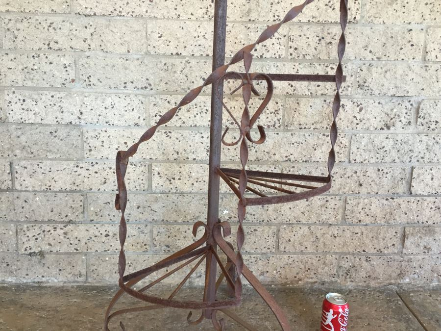 Vintage Wrought Iron Spiral Staircase Garden Plant Stand Photo 2