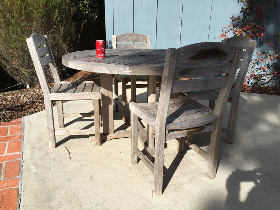 Smith Hawken Teak Outdoor Table With Four Chairs