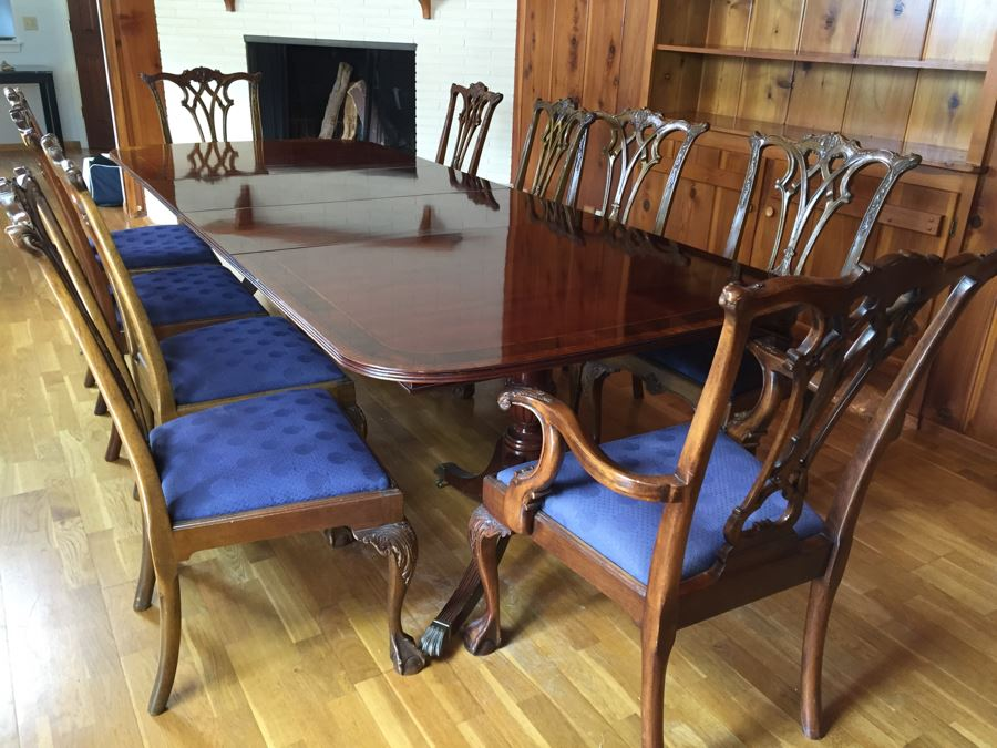 Stunning Thomasville Double Pedestal Dining Table With Two Leaves And Brass Claw Feet 10 Ball