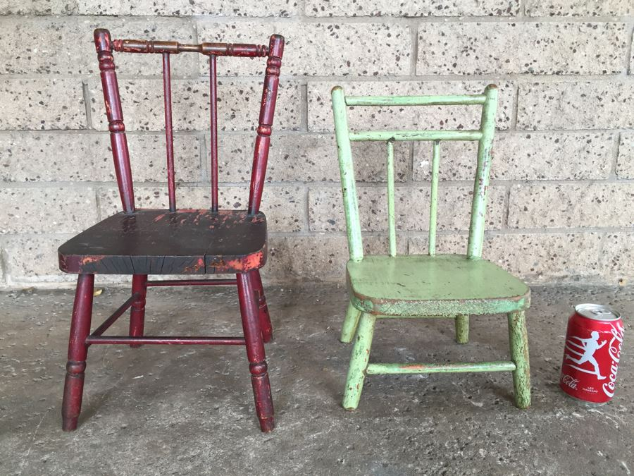 pair of shabby chic children or doll wooden chairs distressed paint