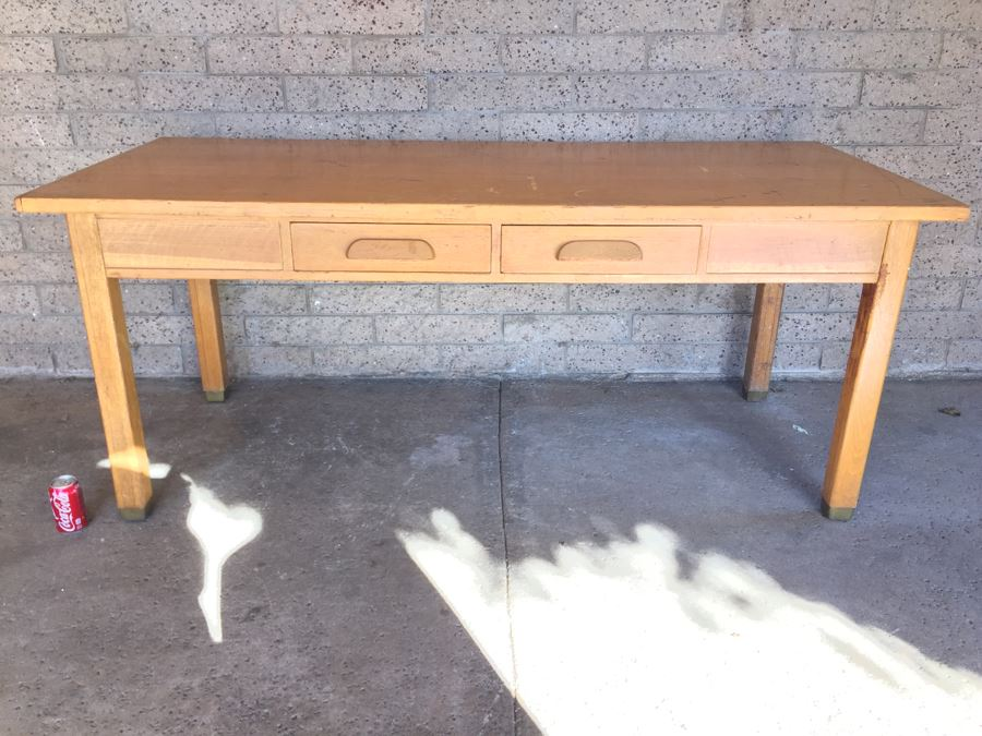 Vintage Wooden Library Table Desk With Two Drawers From Los Angeles School   Photo 1. Vintage Wooden Library Table Desk With Two Drawers From Los