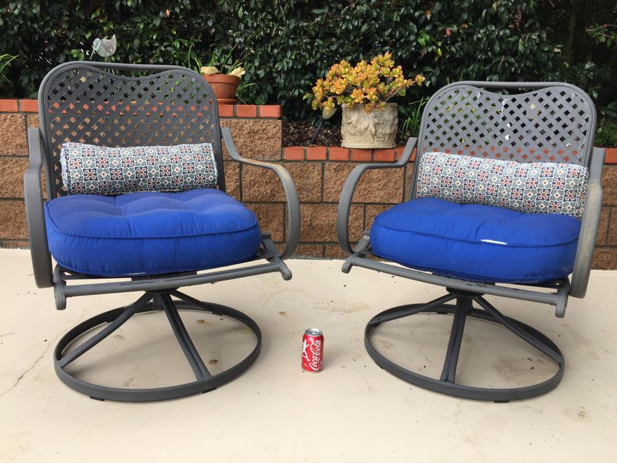 Pair Of Outdoor Swivel Chairs By Hampton Bay With Seat