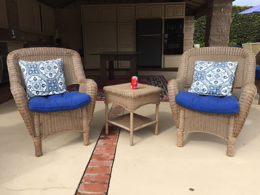 Pair Of Faux Wicker Chairs With Cushions And Pillows Plus