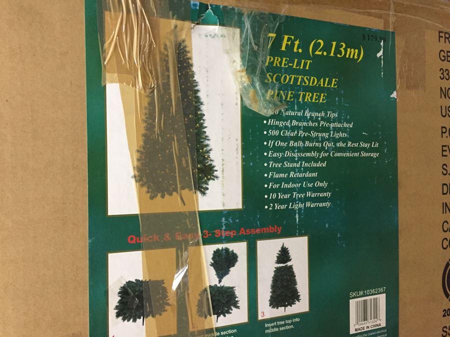 7 Ft Pre-Lit Scottsdale Pine Artificial Christmas Tree