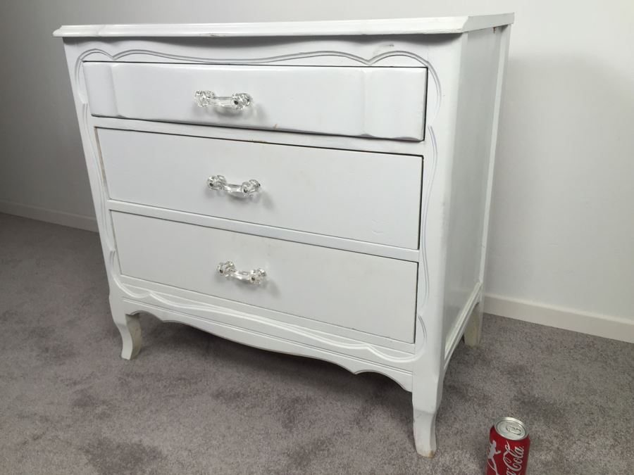 White Shabby Chic 3-Drawer Chest Of Drawers Dresser
