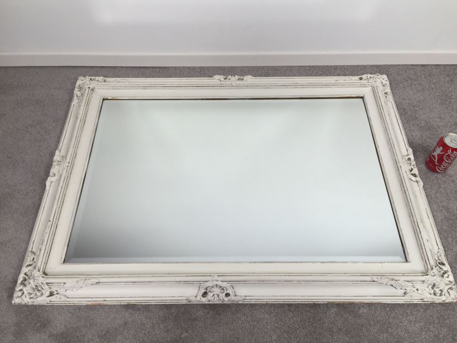 Shabby Chic Wall Mirror vintage shabby chic painted white beveled glass wall mirror