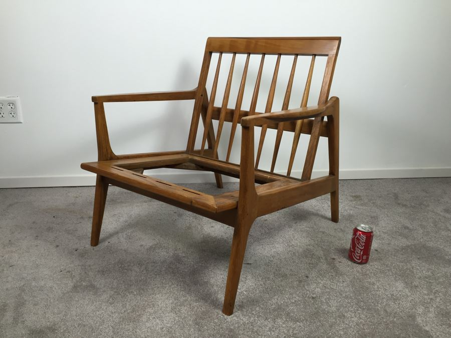 Danish Mid Century Modern Teak Chair With Cushions Needs Seat Straps