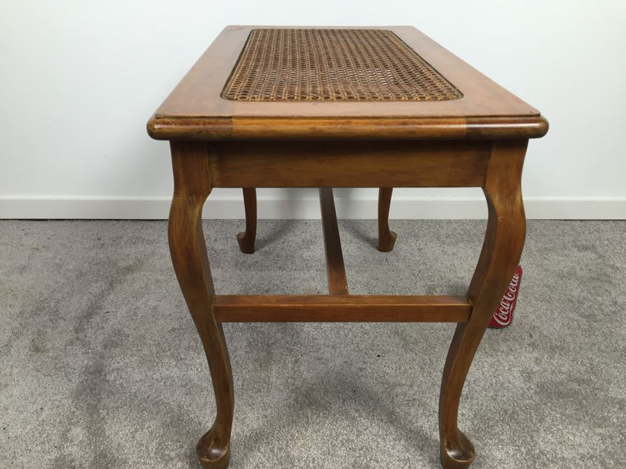 Side Table With Cane Top French Walnut Star Furniture Co Jamestown NY  [Photo 2]