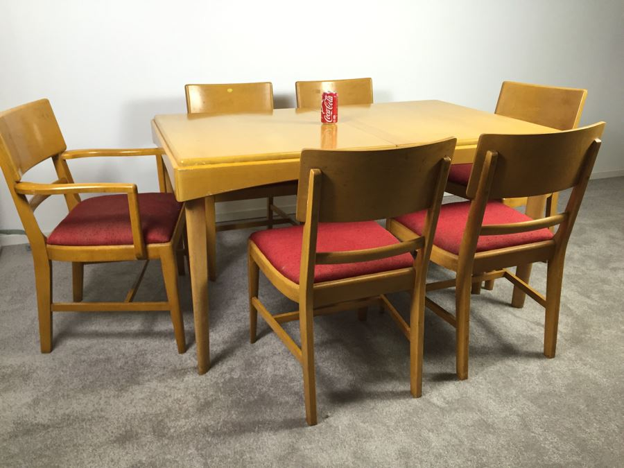 Mid Century Modern Blonde Dining Table With 6 Chairs By Thomasville Chair Company Photo
