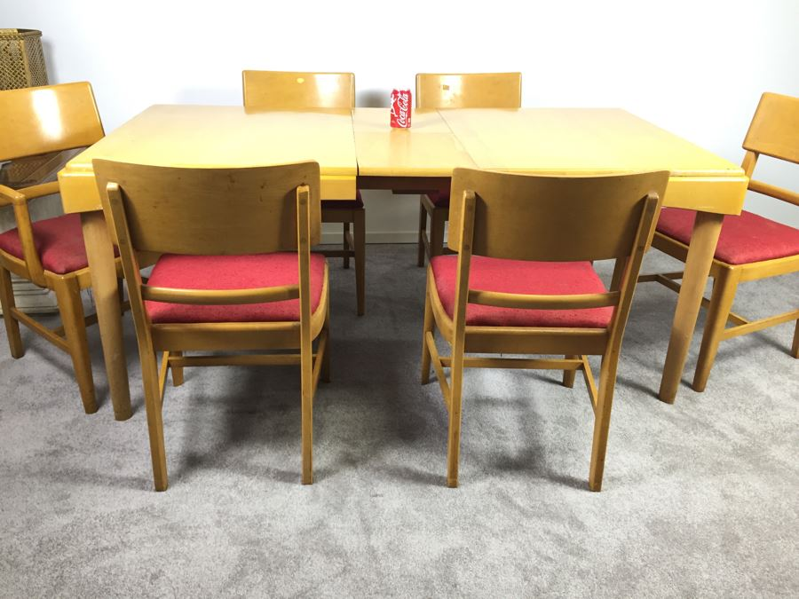 Mid Century Modern Blonde Dining Table With 6 Chairs By Thomasville Chair  Company [Photo