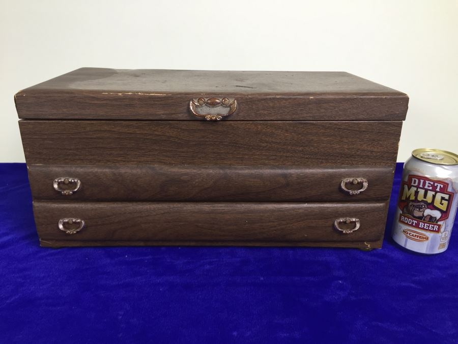Vintage Tabletop Jewelry Box With 2 Drawers Filled With Costume Jewelry  [Photo 1]