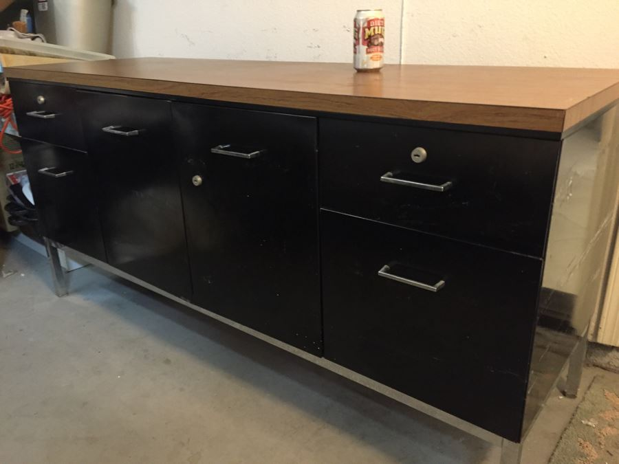 Bon Metal Steelcase Office Credenza With Chrome Legs Modernist [Photo 1]