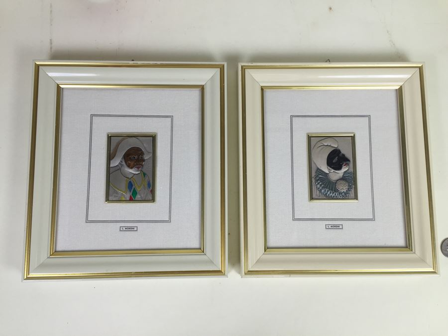Limited Issue Sterling Silver And Gold Framed Clown Pictures By Mida