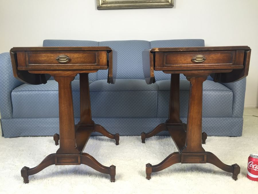 Pair Of Inlaid Leather Heirloom Quality Weiman Drop Leaf Side Tables 9739  [Photo 1] - Pair Of Inlaid Leather Heirloom Quality Weiman Drop Leaf Side Tables