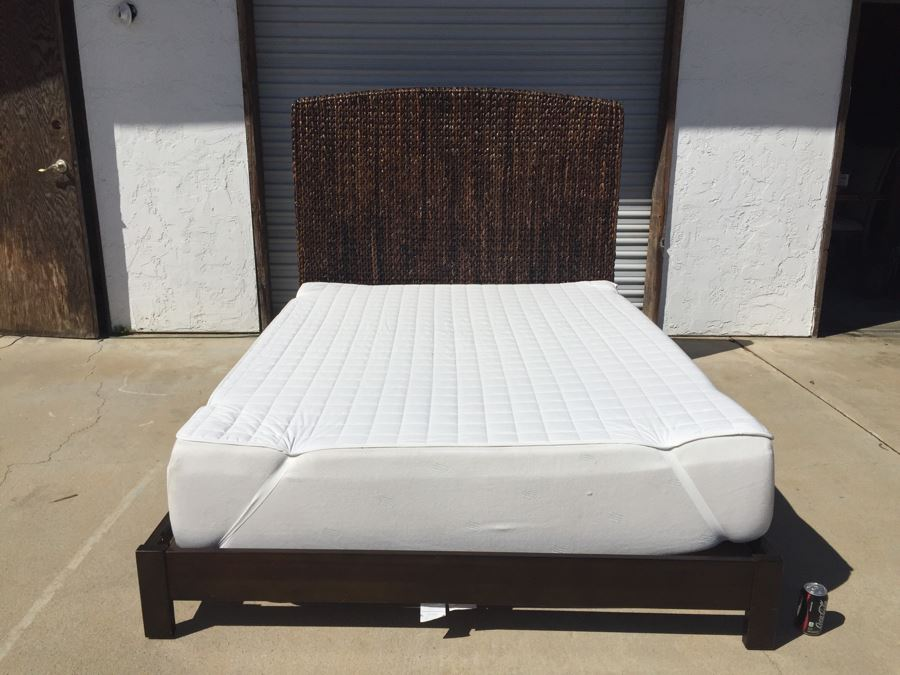 Woven Headboard With Bed Frame And Queen Size Memory Foam Mattress