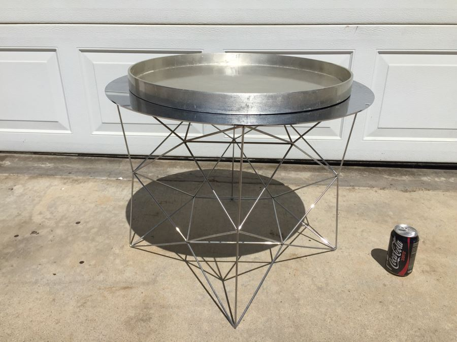 West Elm Chrome Wire Table With West Elm Tray - West elm tray table