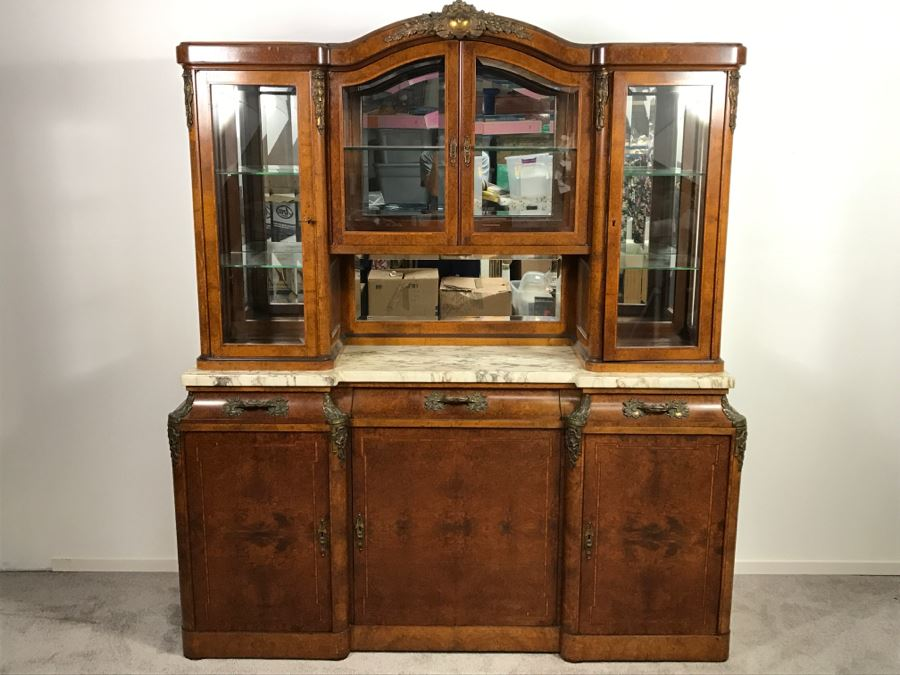 Stunning Antique Cabinet With Marble Top And Hutch - Detailed Wood Inlay  And Metal Accents With - Stunning Antique Cabinet With Marble Top And Hutch - Detailed Wood