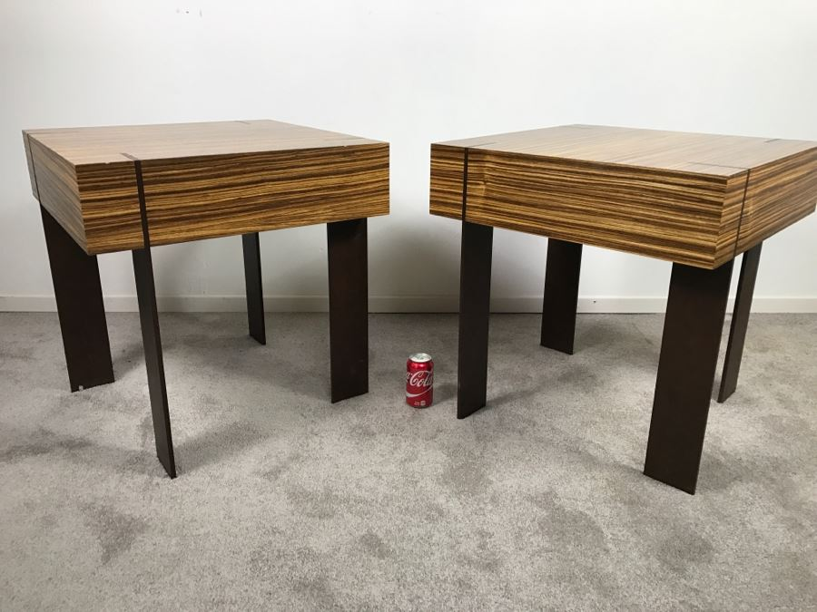 Pair Of Modernist Antoine Proulx Wood And Metal End Tables Held By Freedom High  End [