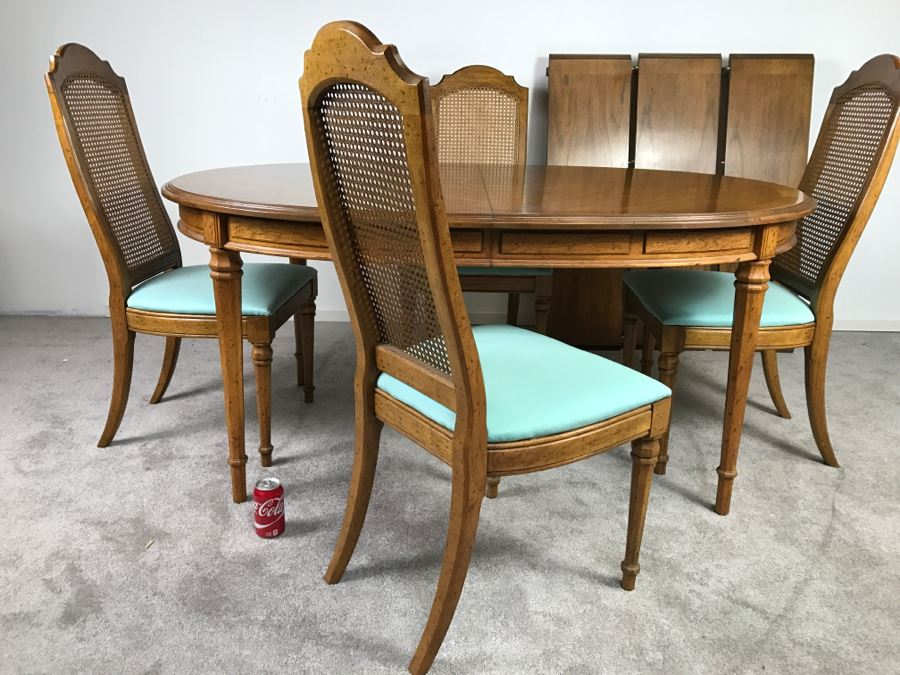 Nice Esperanto By Drexel Formal Dining Table With 3 Leaves And 4 Cane Back Chairs  [Photo
