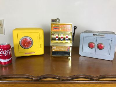 (2) Kid's Metal Safes And Toy Slot Machine