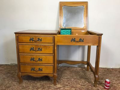 Vintage Walnut Vanity Dresser By IRWIN Pendleton With Jewelry Box, Patches, Some Jewelry And Various Items Photographed