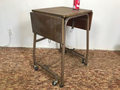 Solid Construction Wood And Metal Rolling Cart With Two Drop Leafs