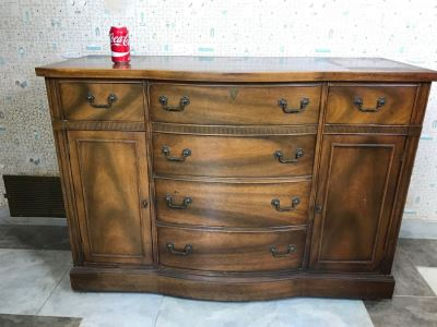 Vintage Wooden Sideboard Buffet On Casters