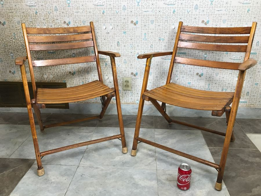 pair of vintage wood folding chairs slatted ship deck chairs