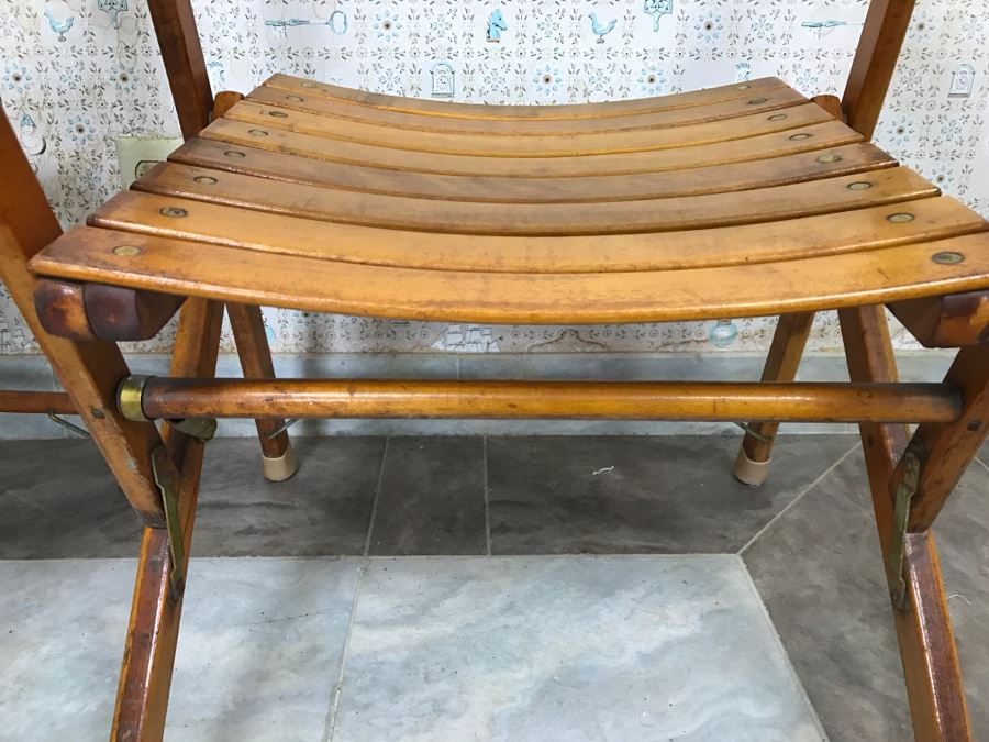 Pair Of Vintage Wood Folding Chairs Slatted Ship Deck Chairs [Photo 8]