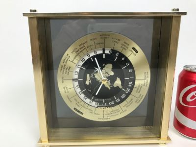 SEIKO Brass World Clock With Airplane On Hand Of Clock