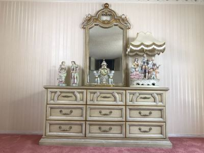 Vintage 1969 Campanile By Drexel Furniture Chest Of Drawers Dresser White With Gilt Wood Accents And Stunning Mirror