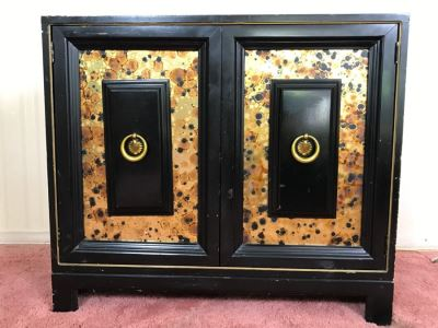 Black Hollywood Regency Chest Table